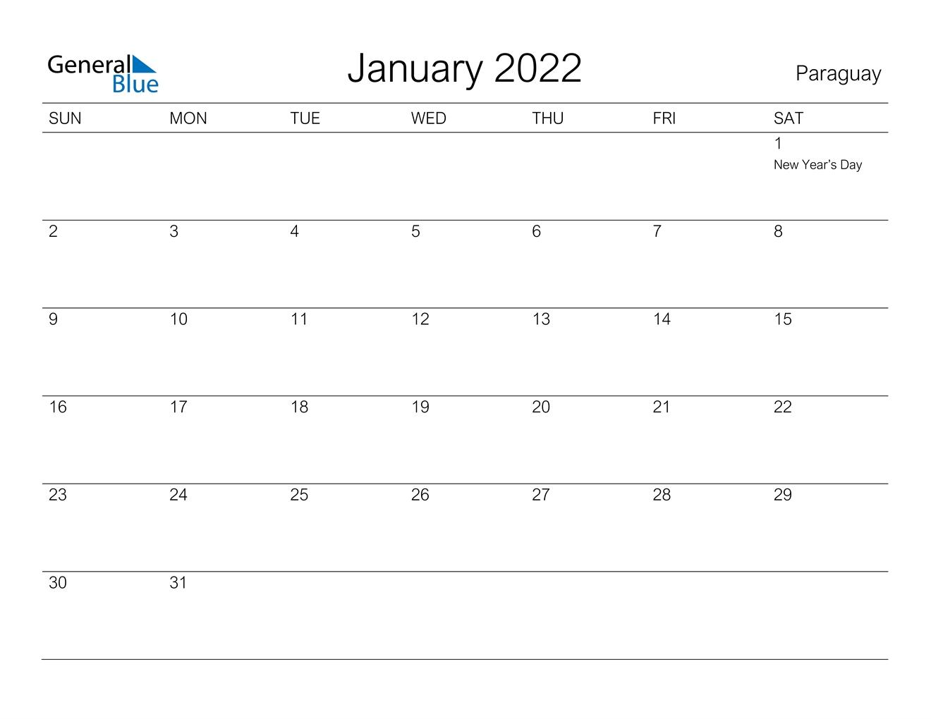January 2022 Calendar - Paraguay