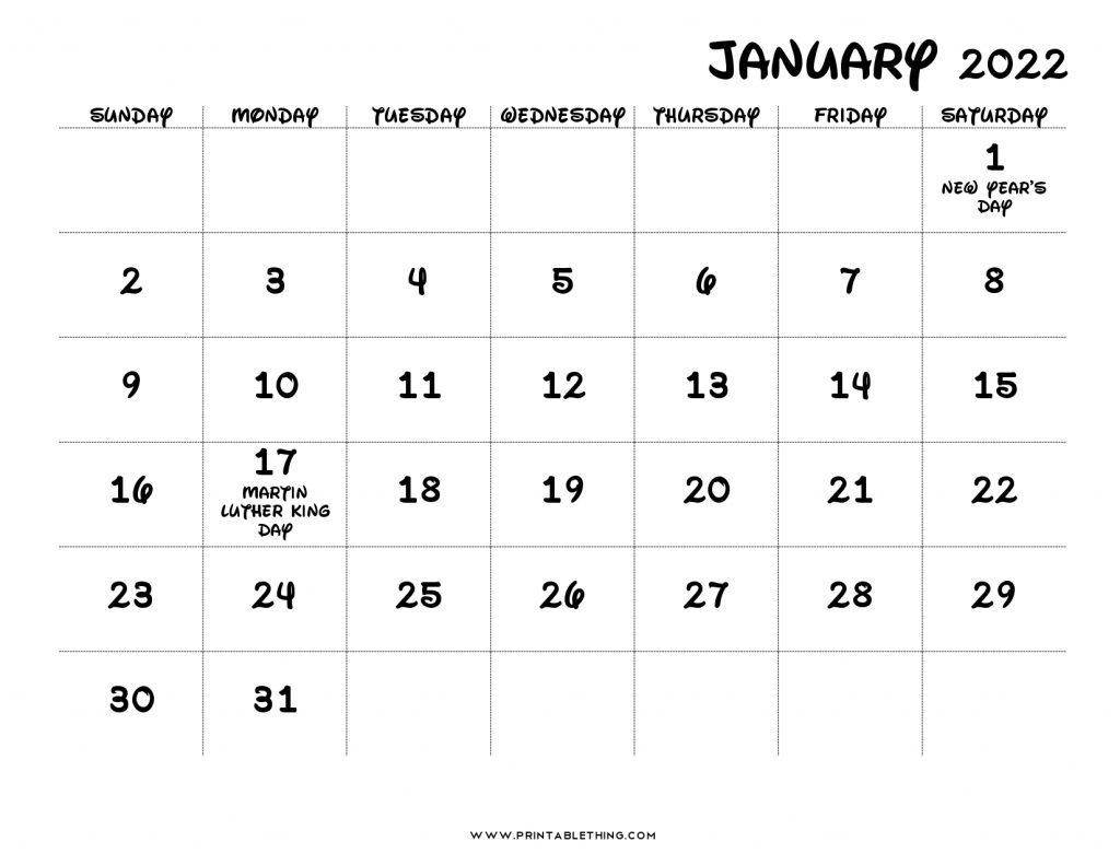 January 2022 Calendar Printable Pdf   Printable Calendar 2021
