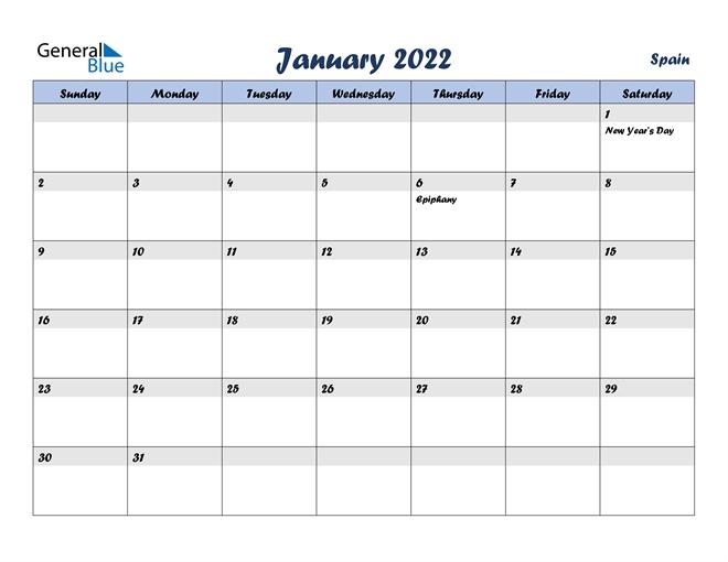 January 2022 Calendar - Spain