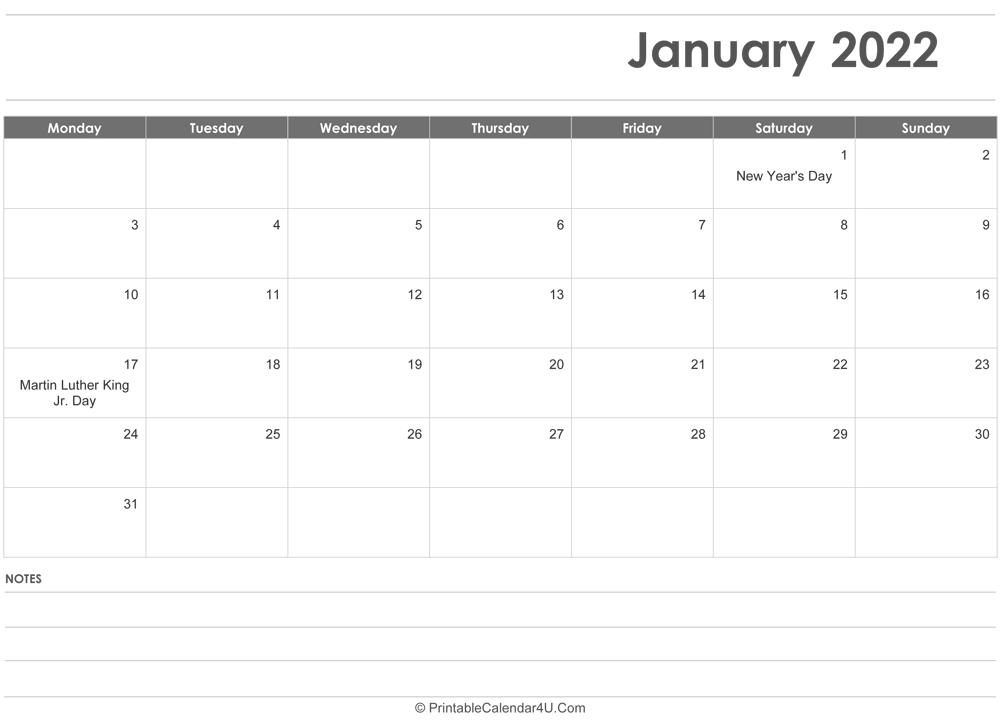 January 2022 Calendar Templates