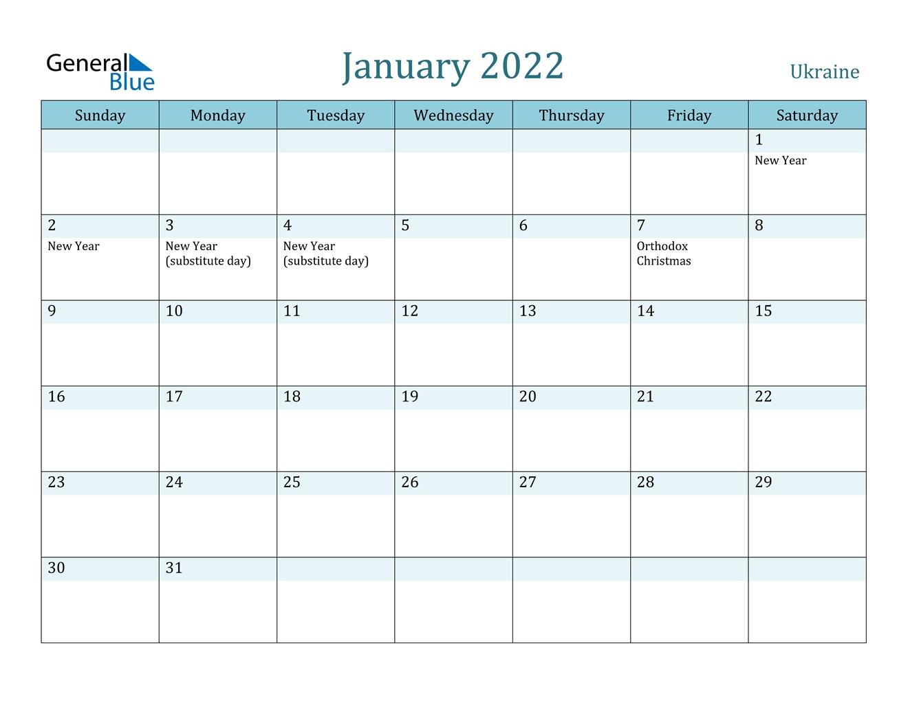 January 2022 Calendar - Ukraine