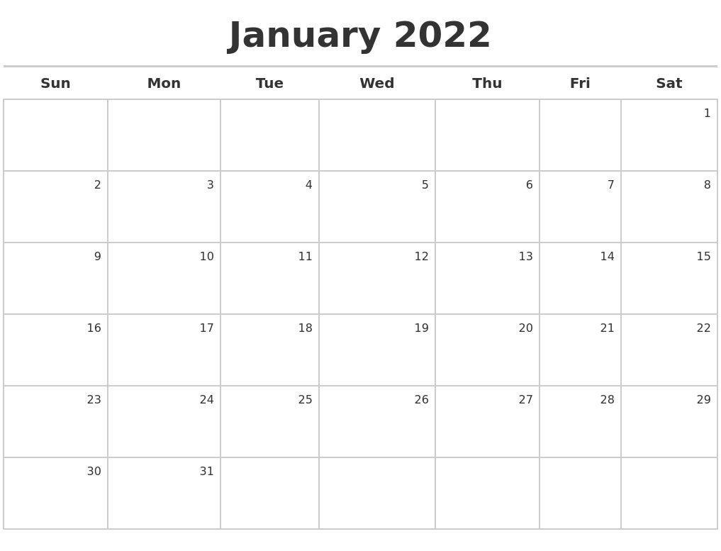 January 2022 Printable Calendars   Free Letter Templates
