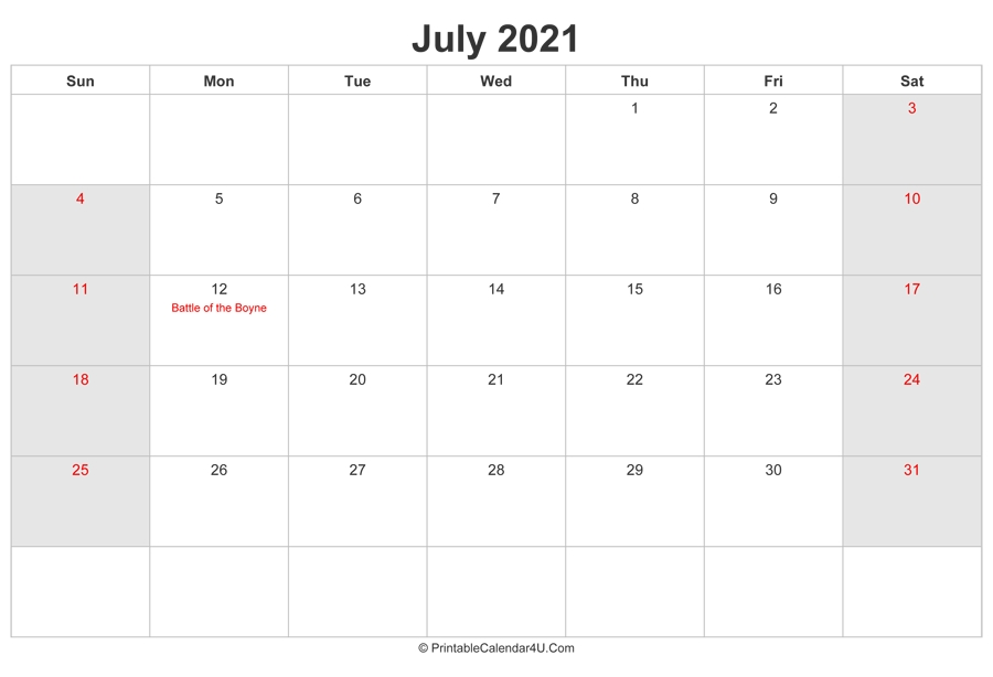 July 2021 Calendar With Uk Bank Holidays Highlighted