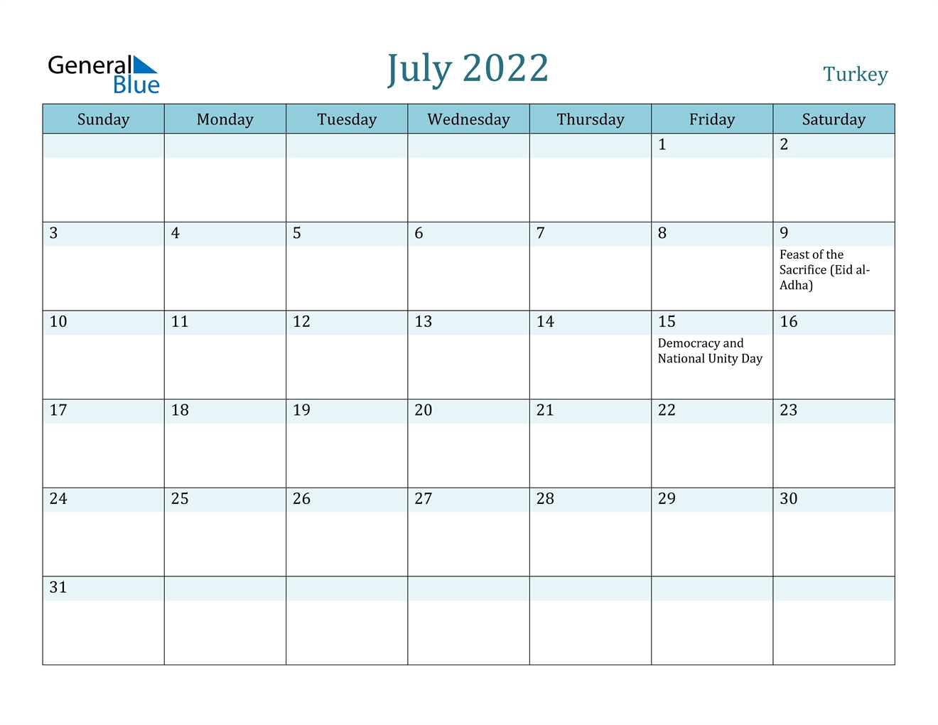 July 2022 Calendar - Turkey