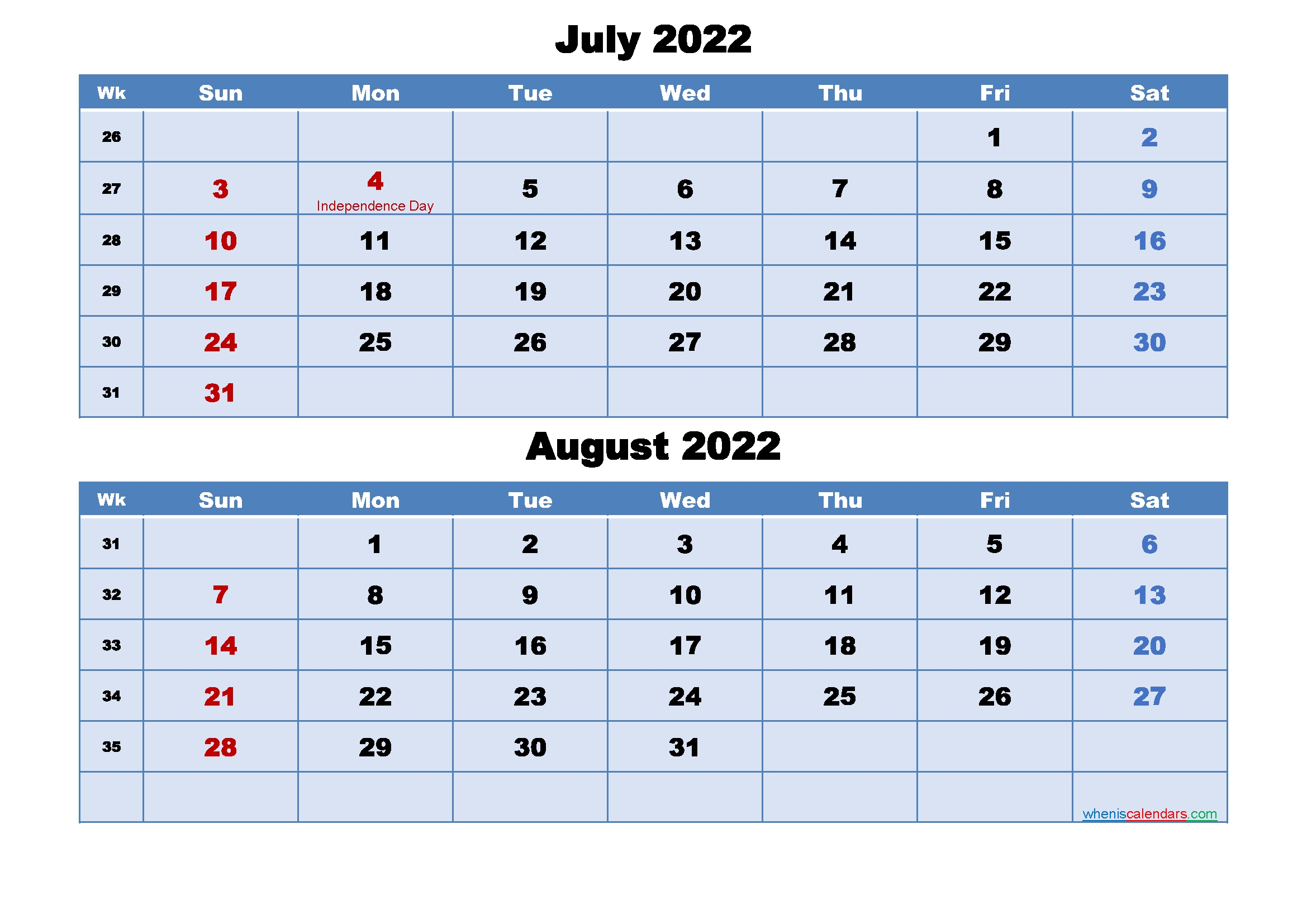 July And August 2022 Calendar With Holidays - Free