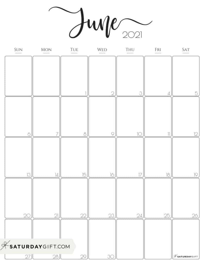 June 2021 Calendar Vertical | Printable March