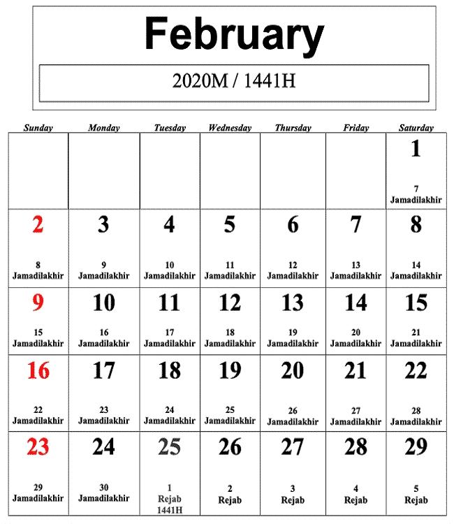 Kalendar Islam 2020 M/ 1441-1442H Dan Tarikh Penting