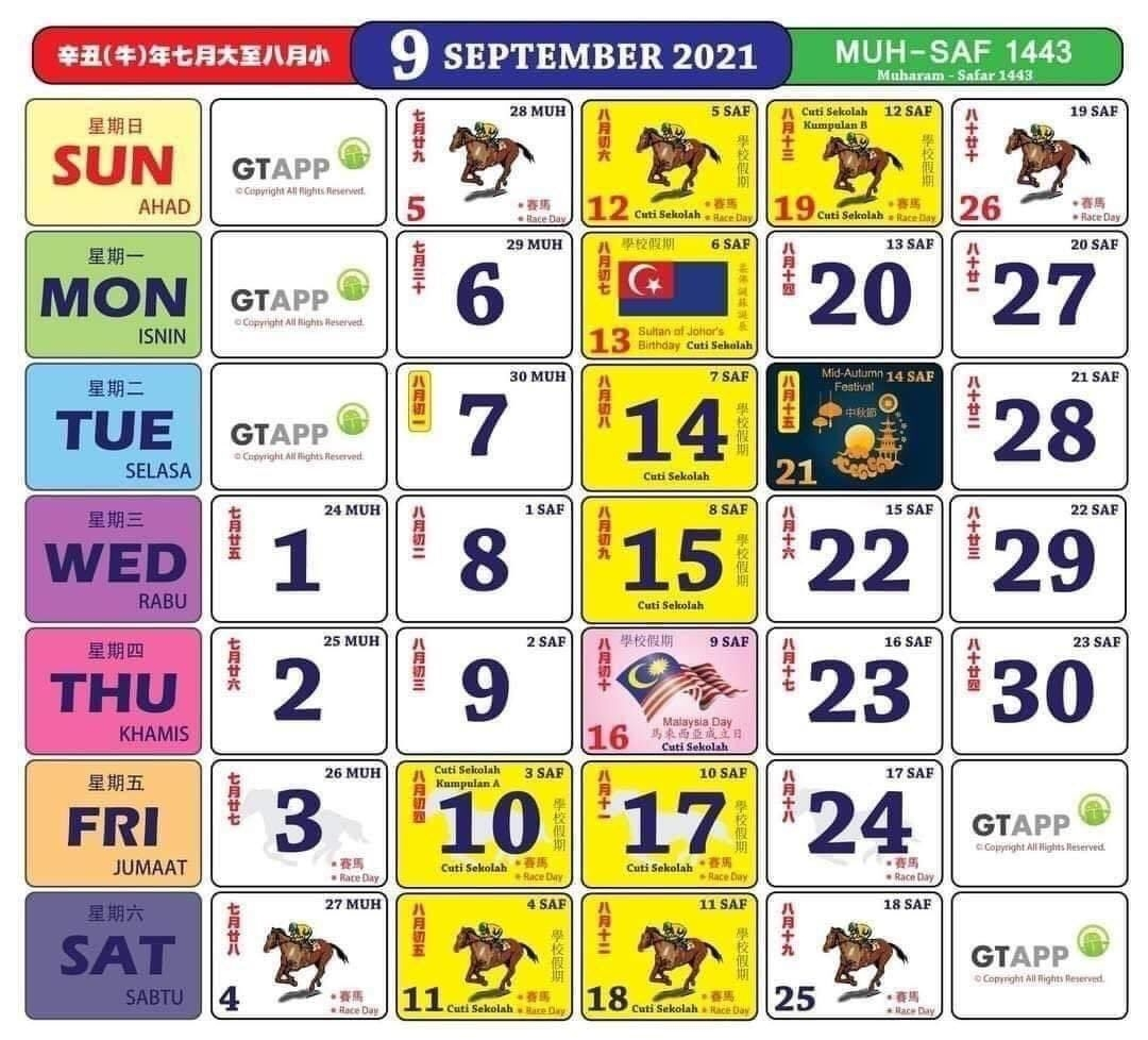 Kalendar Tahun 2021 Dengan Takwim Penggal & Cuti