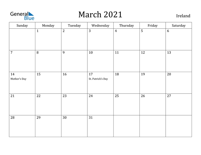 March 2021 Calendar - Ireland