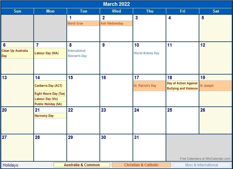 March 2022 Australia Calendar With Holidays For Printing