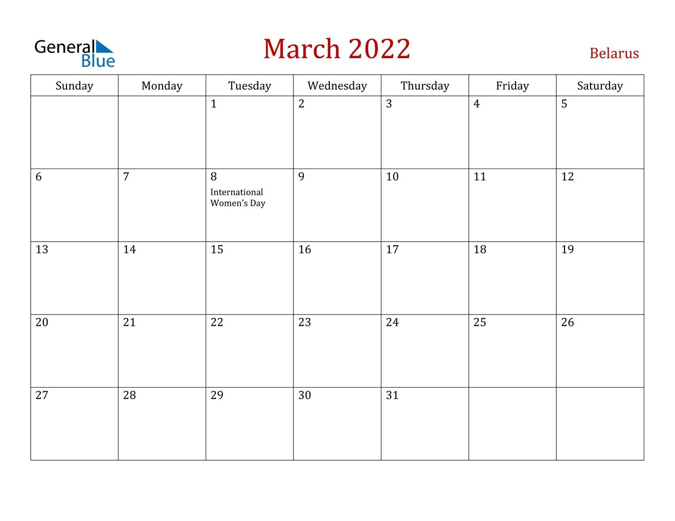 March 2022 Calendar - Belarus