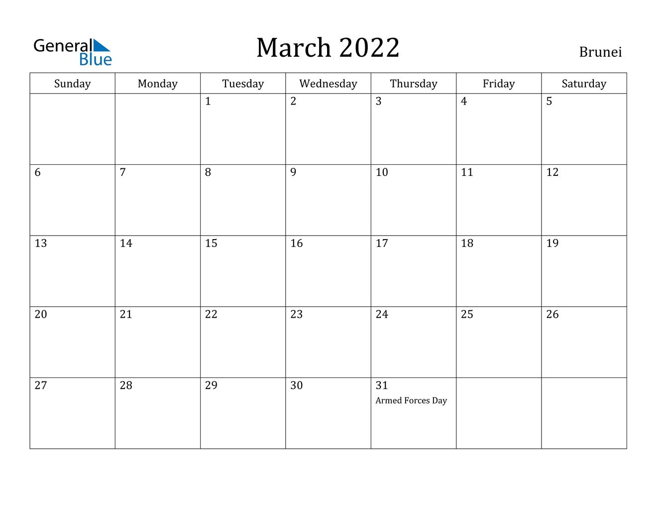 March 2022 Calendar - Brunei