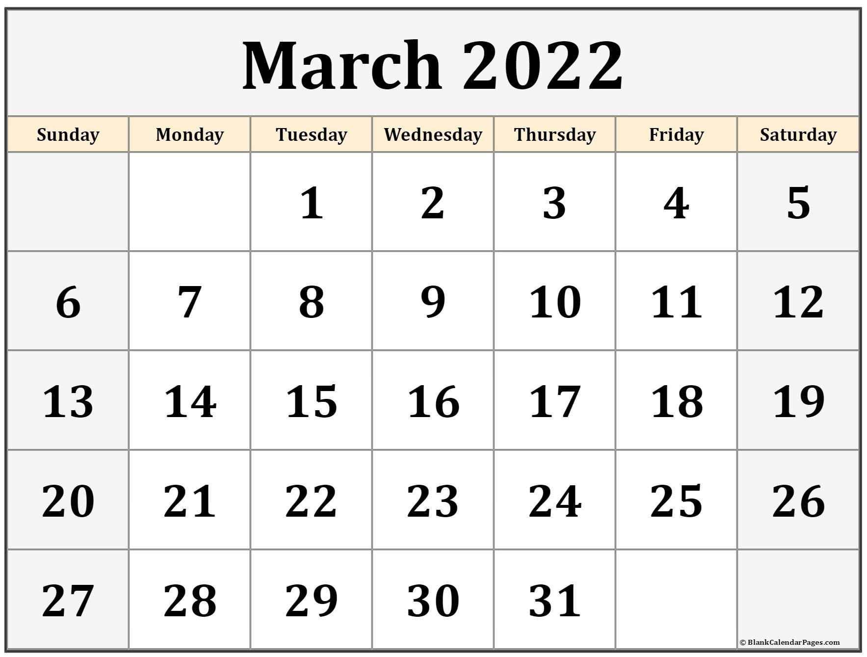 March 2022 Calendar   Free Printable Calendar Templates