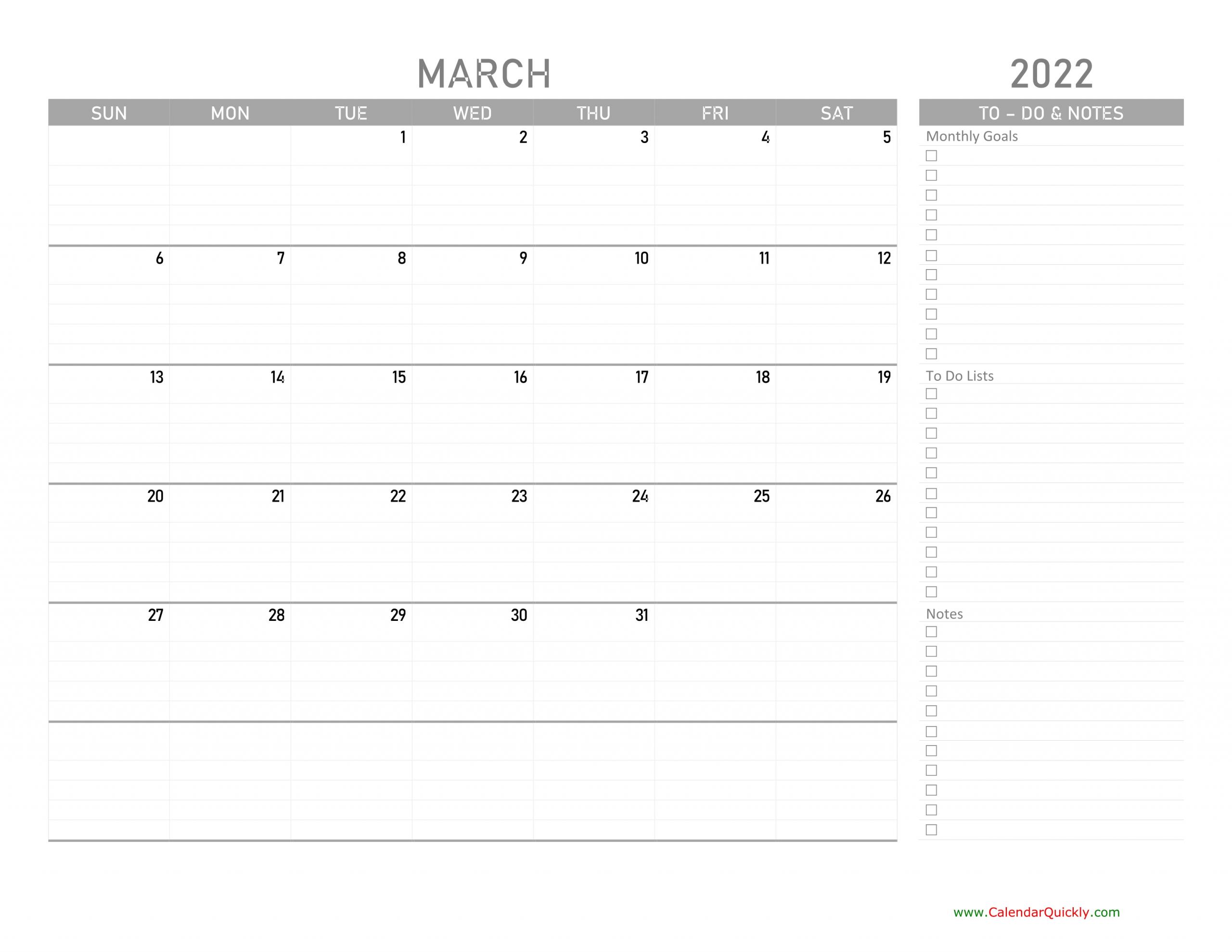March 2022 Calendar With To-Do List | Calendar Quickly