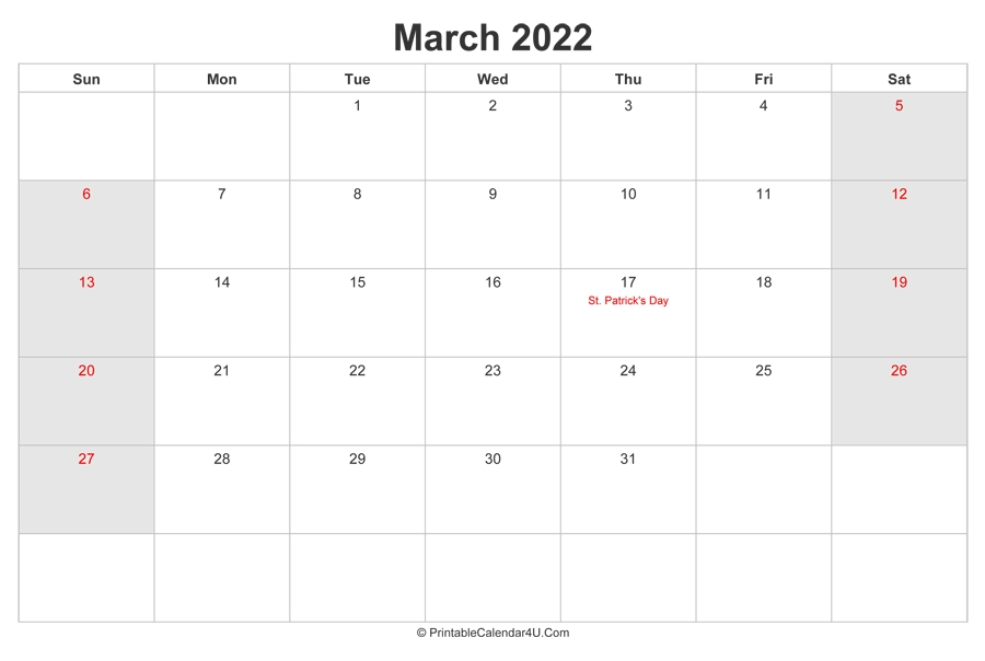 March 2022 Calendar With Us Holidays Highlighted