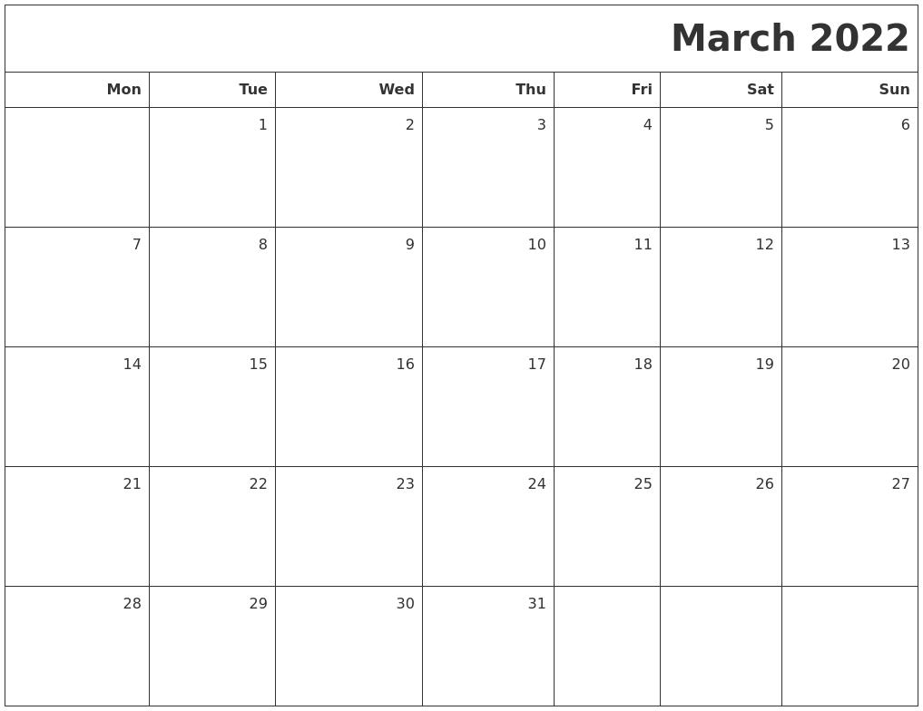 March 2022 Printable Blank Calendar