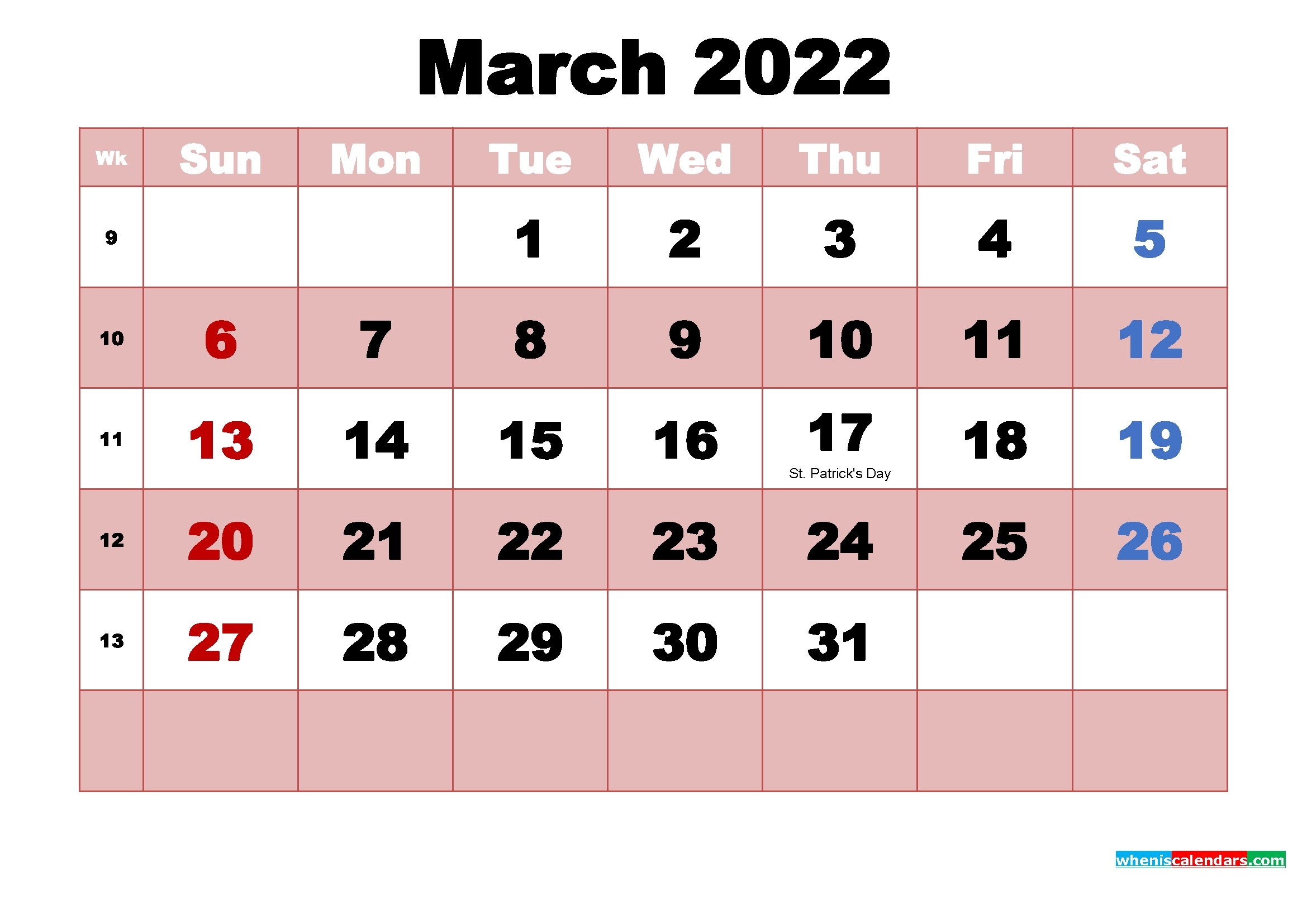 March 2022 Printable Monthly Calendar With Holidays   Free