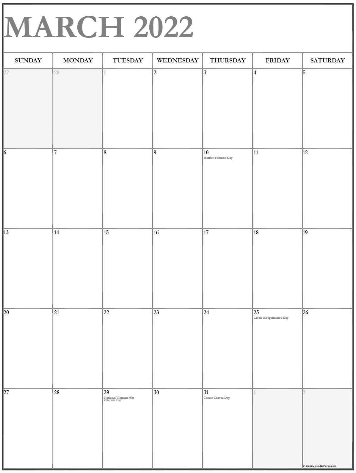 March 2022 Vertical Calendar | Portrait