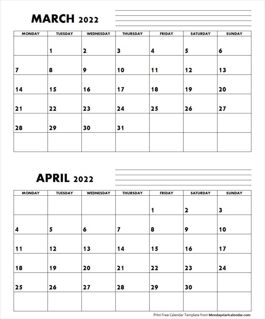 March April 2022 Calendar Monday Start   Editable Two