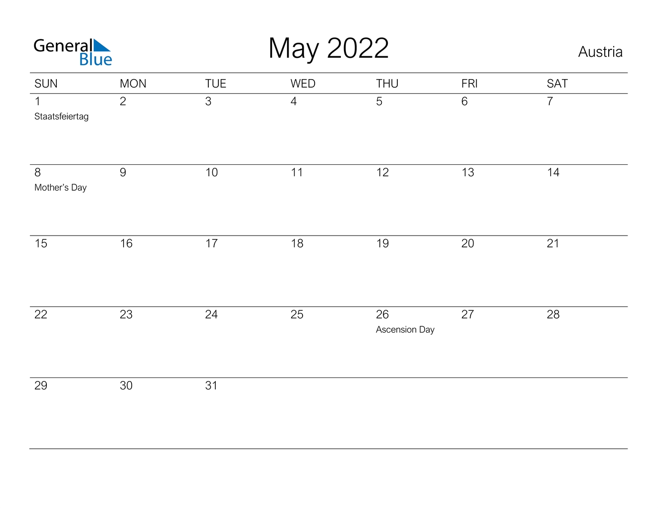 May 2022 Calendar - Austria
