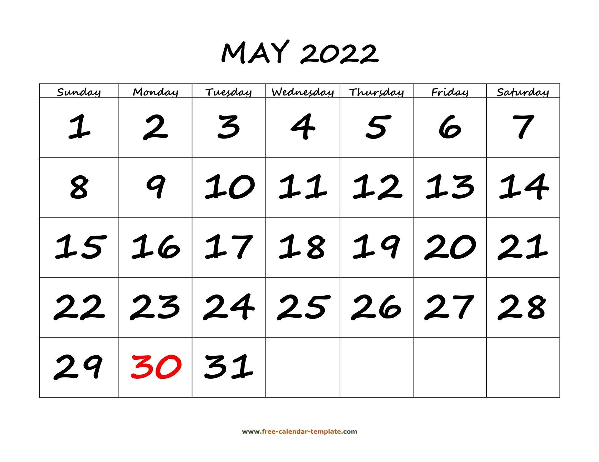 May 2022 Free Calendar Tempplate   Free-Calendar-Template