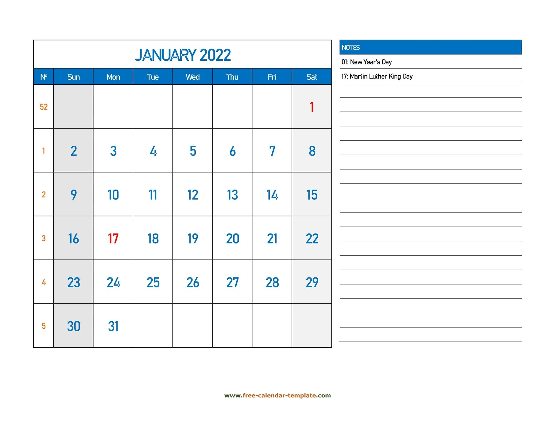 Monthly Calendar 2022 Grid Lines For Holidays And Notes