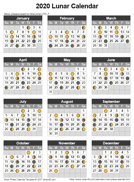 Moon Phase Calendar 2020 - Lunar Calendar Template