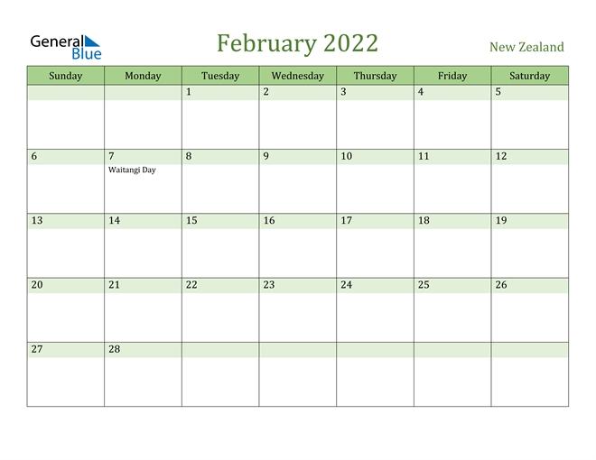 New Zealand February 2022 Calendar With Holidays