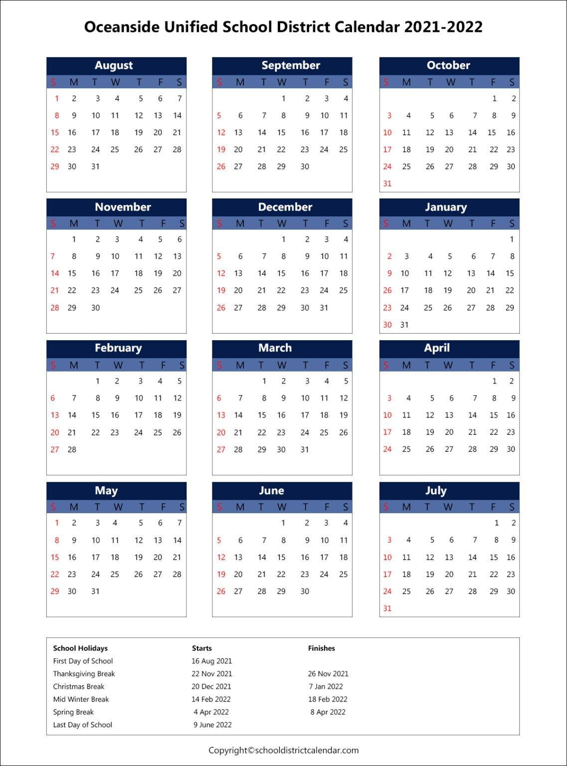 Oceanside Unified School District Calendar Holidays 2021-2022