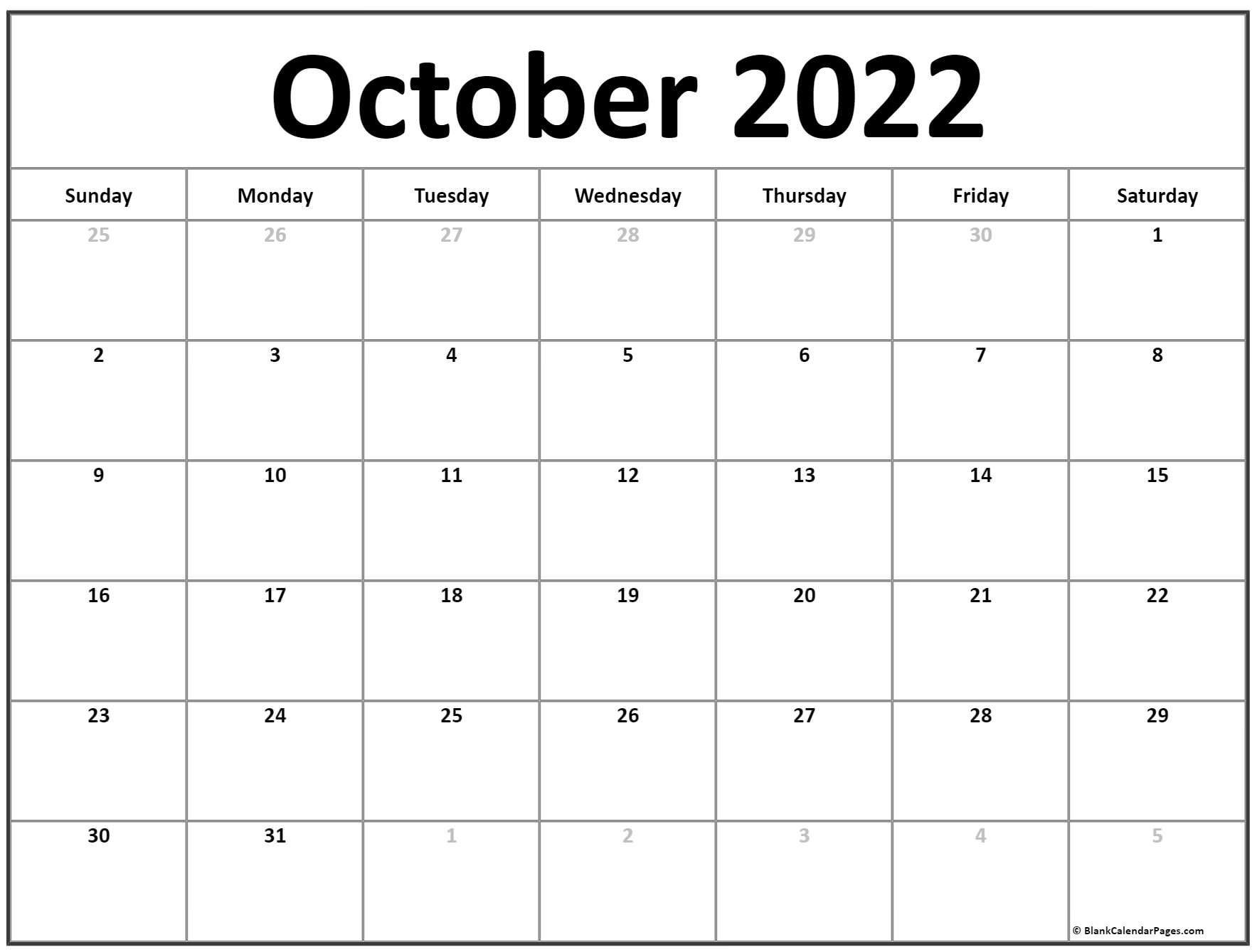 October 2022 Calendar   Free Printable Calendar Templates