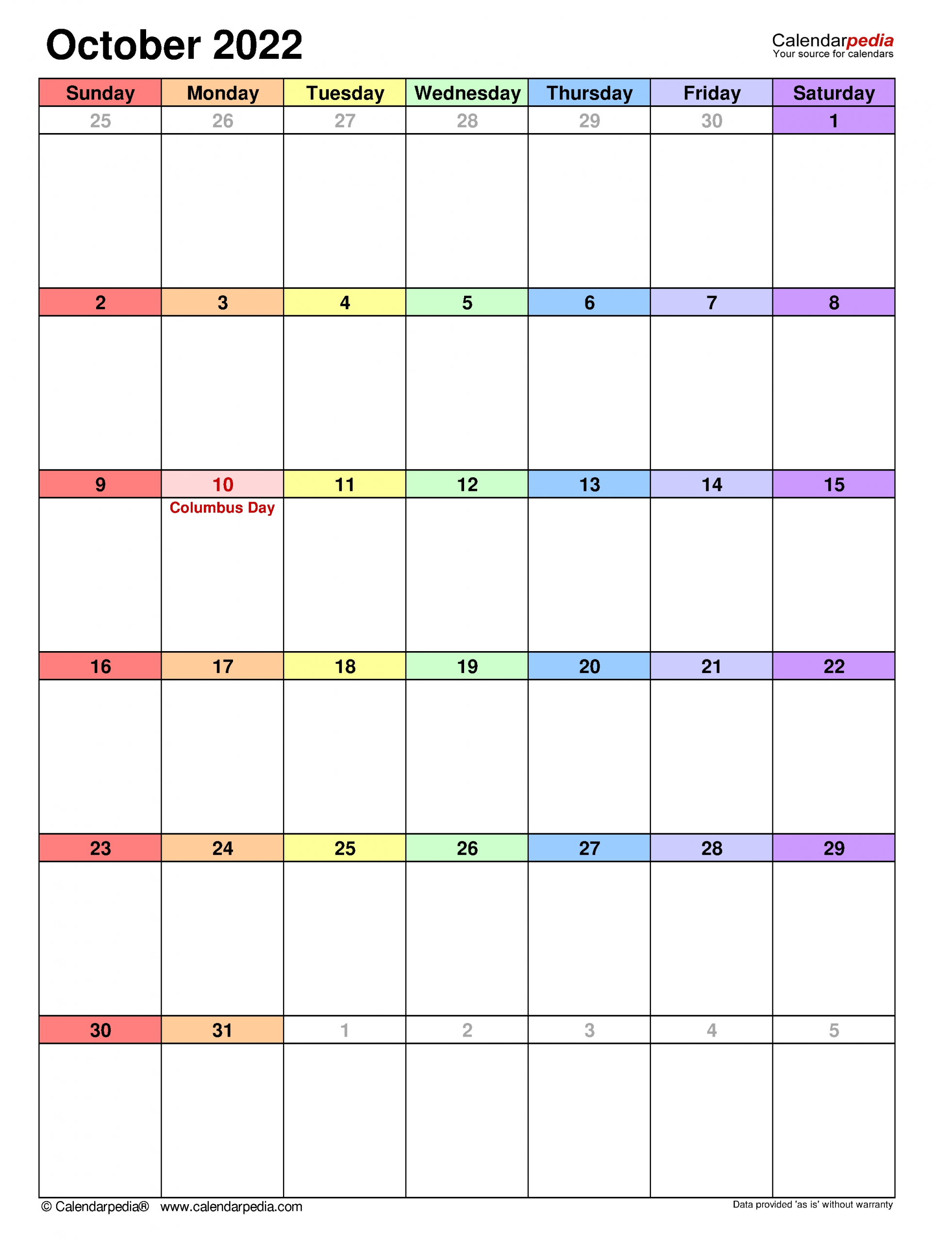 October 2022 Calendar | Templates For Word, Excel And Pdf