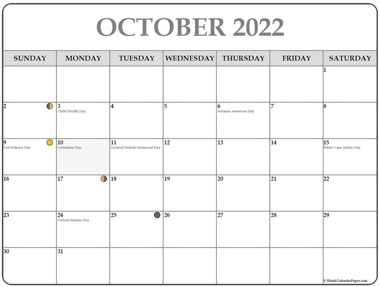 October 2022 Lunar Calendar | Moon Phase Calendar