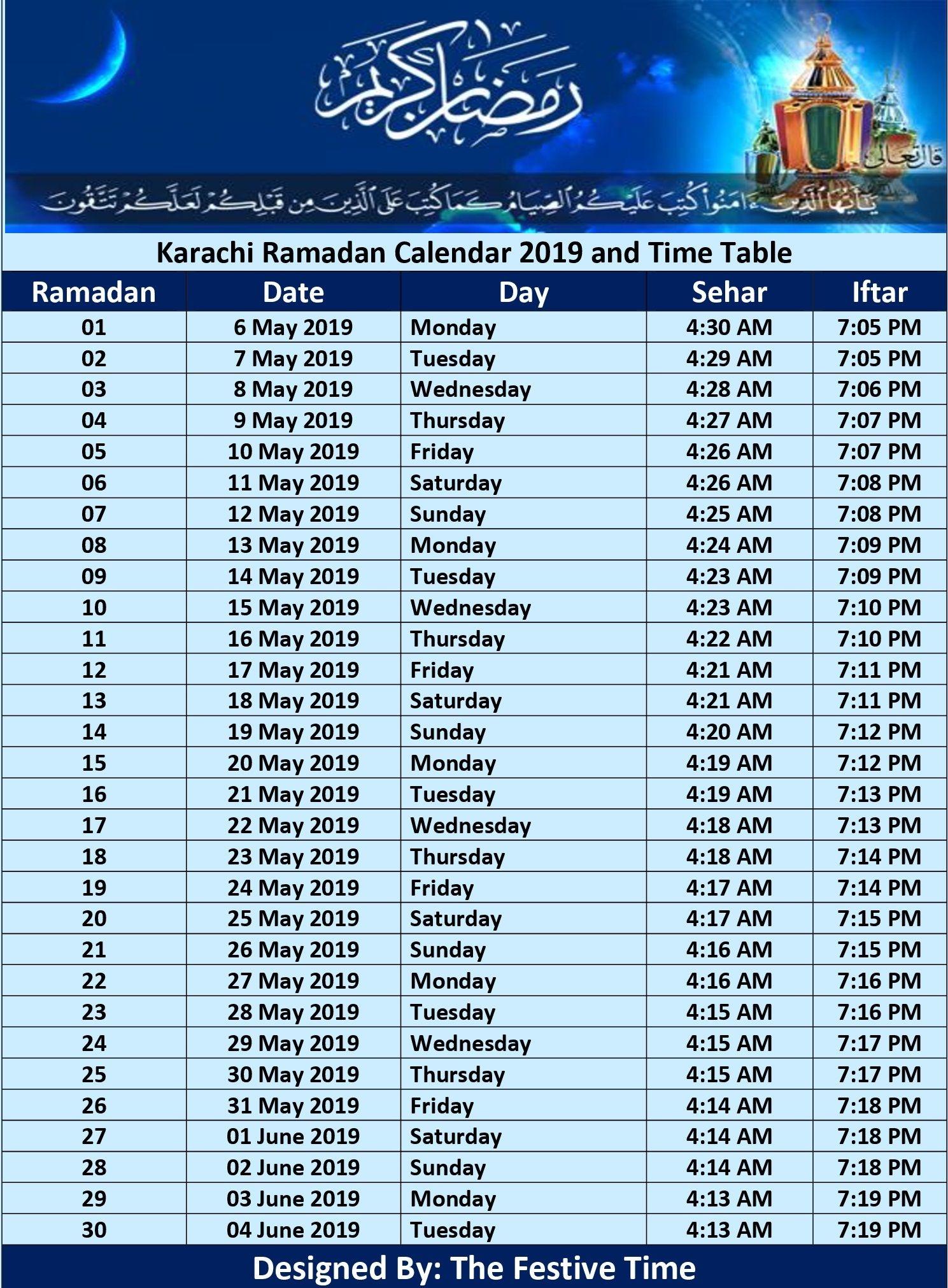 Pakistan Ramadan Calendar 2019, Sehr O Iftar Timings