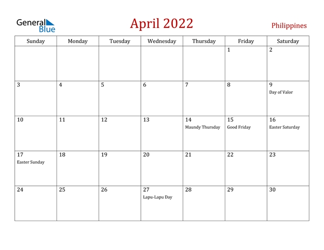 Philippines April 2022 Calendar With Holidays
