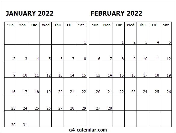 Print Calendar January February 2022 - A4 Calendar