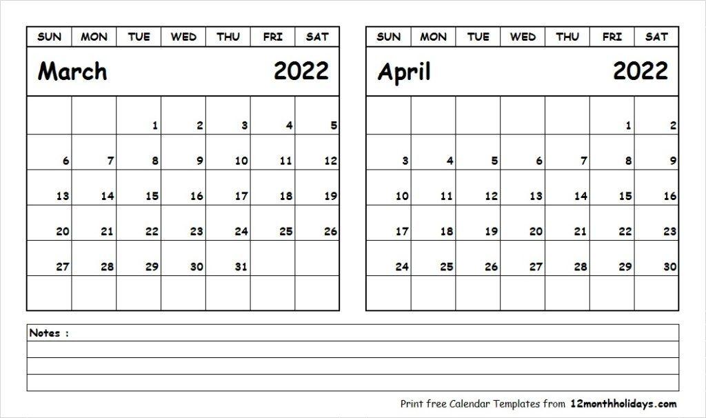 Print March April 2022 Calendar Template   2 Month Calendar