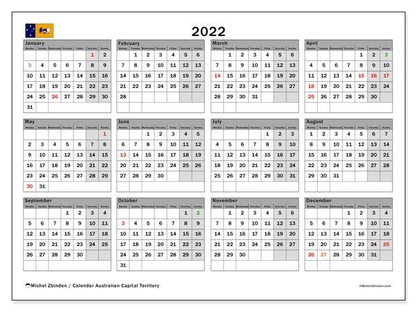 "Printable 2022 ""Australian Capital Territory"" Calendar"
