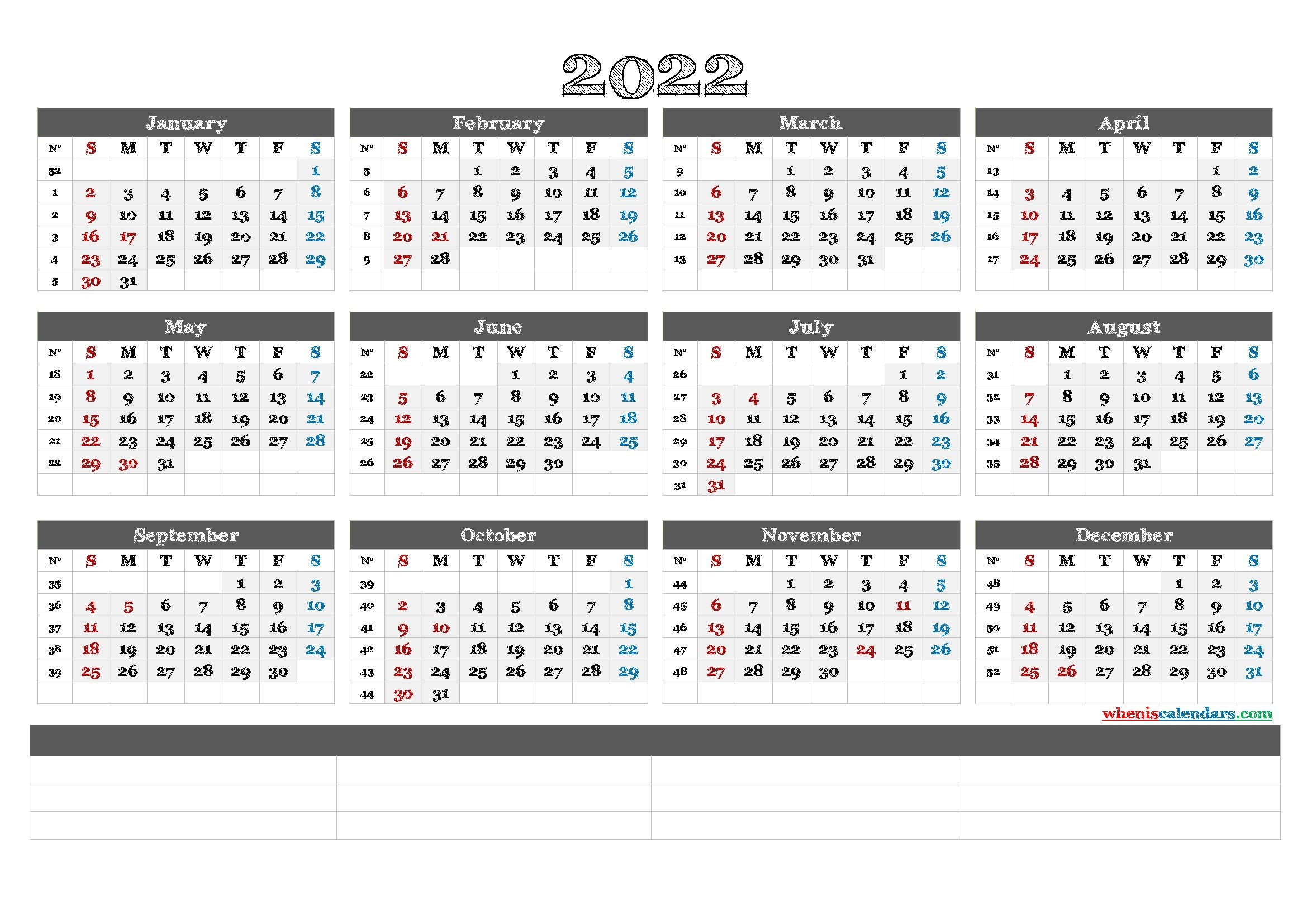 Printable 2022 Calendar By Month - Calendraex