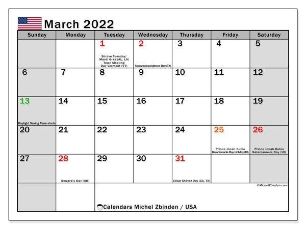 "Printable 2022 Calendars ""Public Holidays"" - Michel Zbinden En"