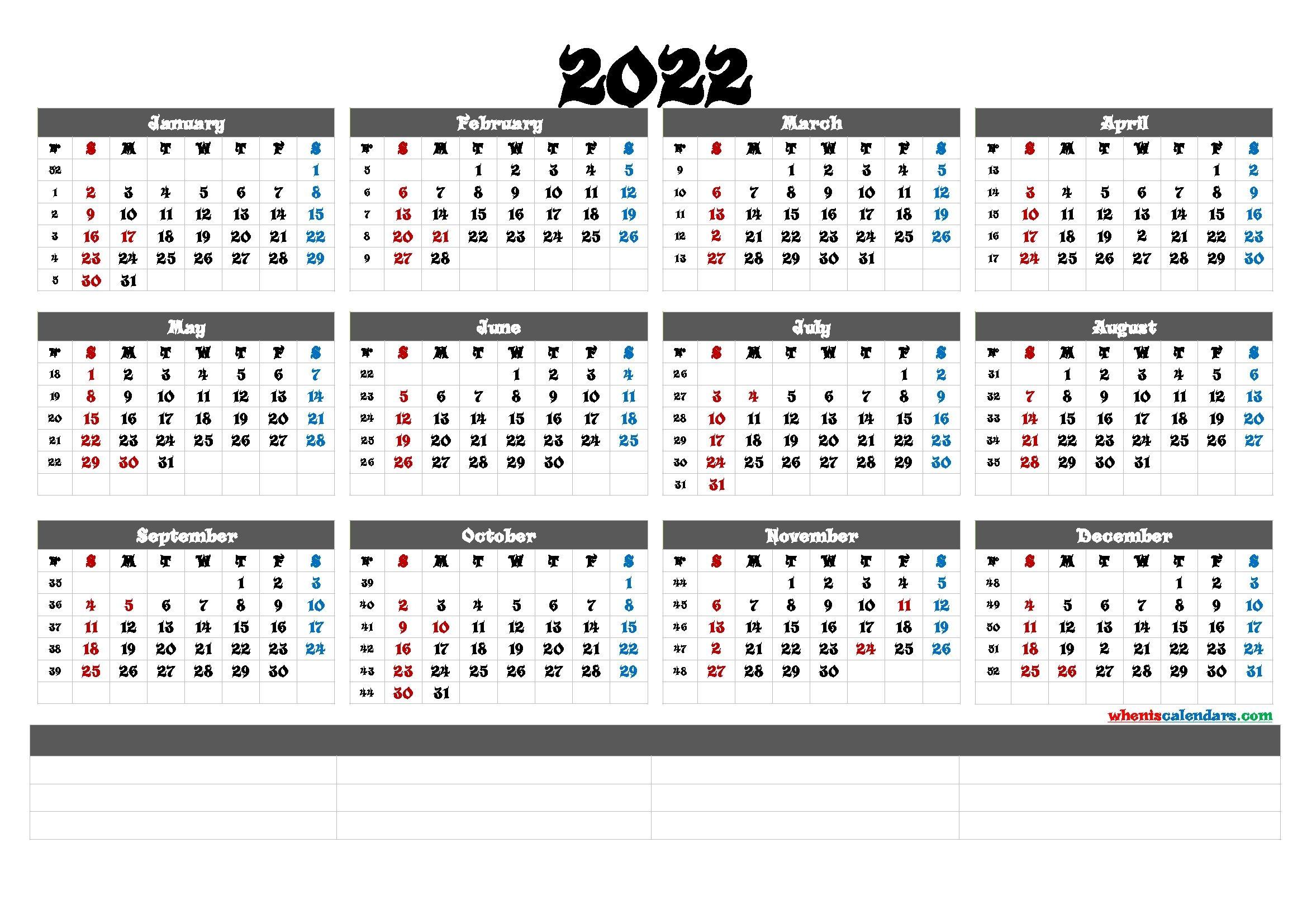 Printable 2022 Yearly Calendar (6 Templates)