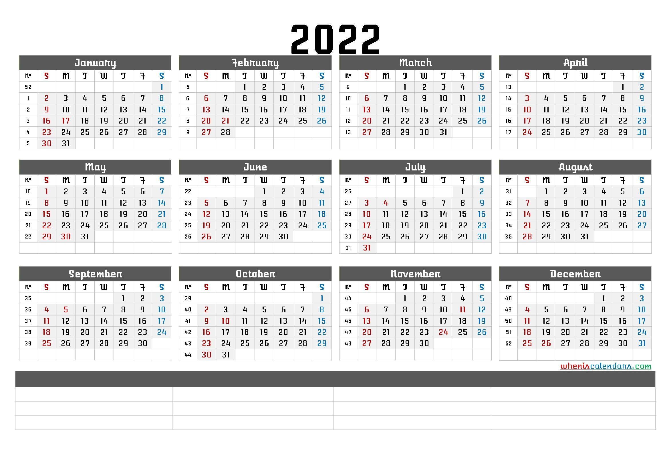 Printable 2022 Yearly Calendar With Week Numbers (6 Templates)