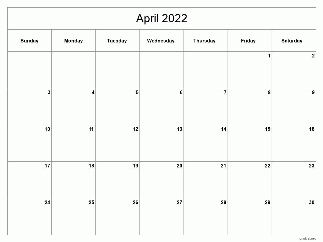 Printable April 2022 Calendar | Free Printable Calendars