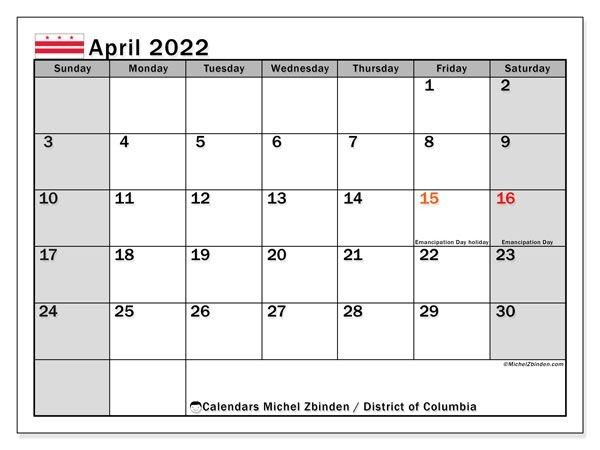 "Printable April 2022 ""District Of Columbia"" Calendar"
