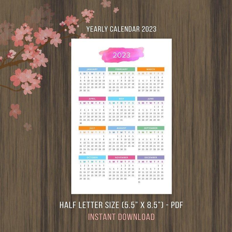 Printable Calendar 2022 2023 Desktop Calendar Yearly Wall