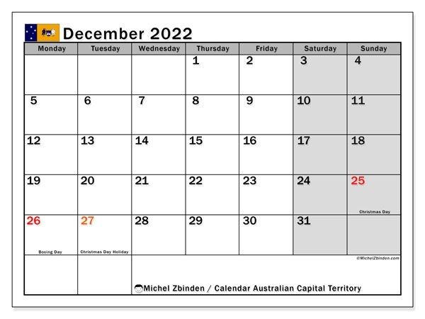 """Printable December 2022 """"Australian Capital Territory"""