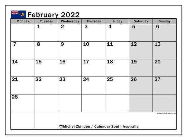 "Printable February 2022 ""South Australia"" Calendar"