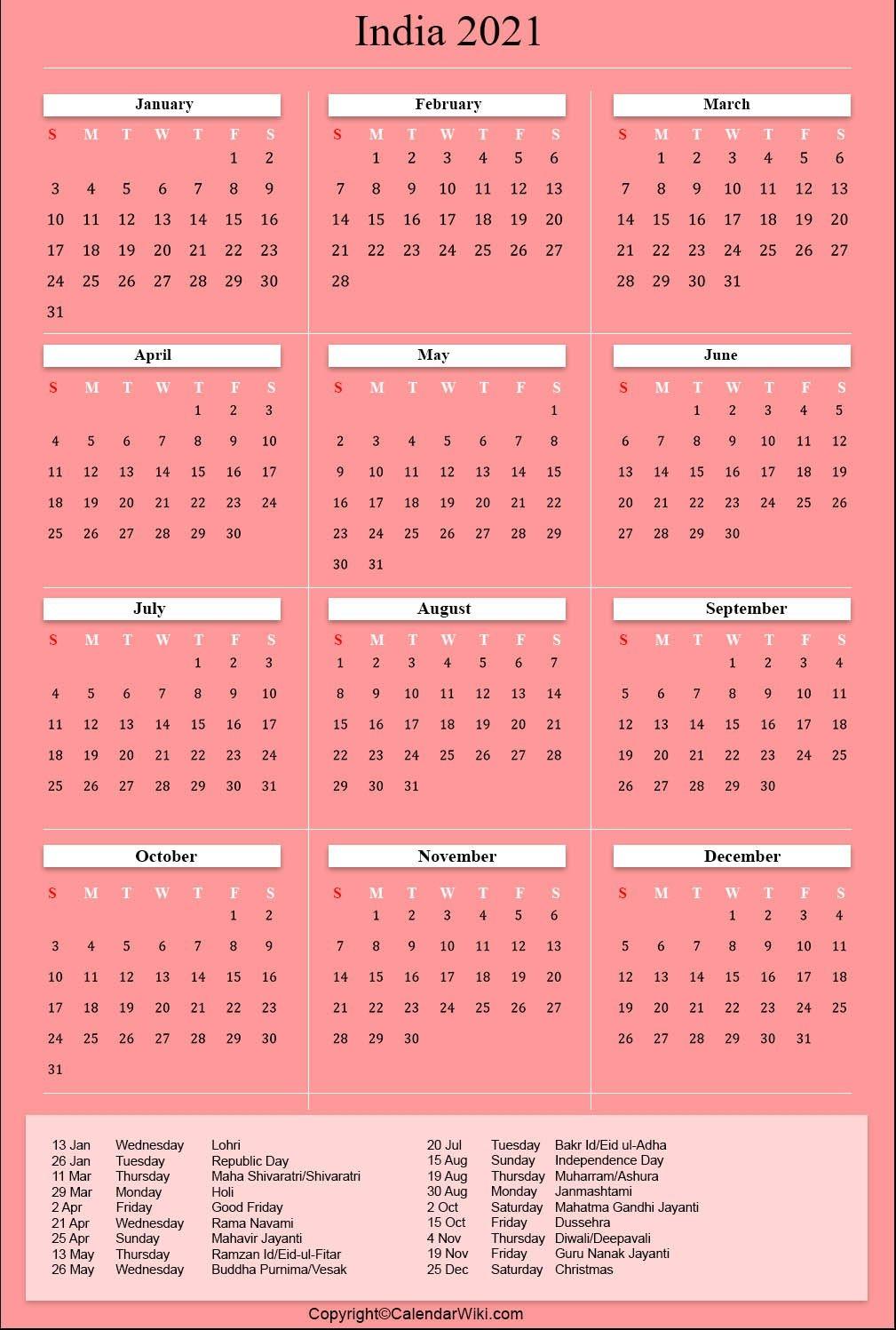 Printable India Calendar 2021 With Holidays [Public Holidays]