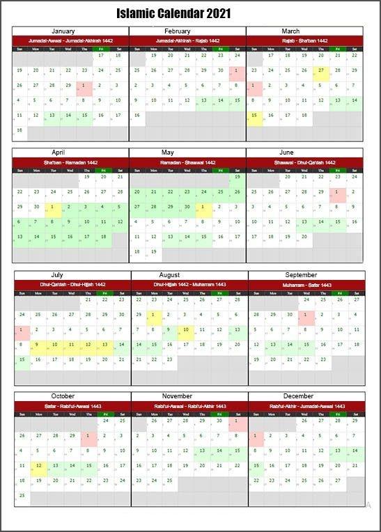 Printable Islamic 2021 Calendar In Pdf | Hijri Calendar