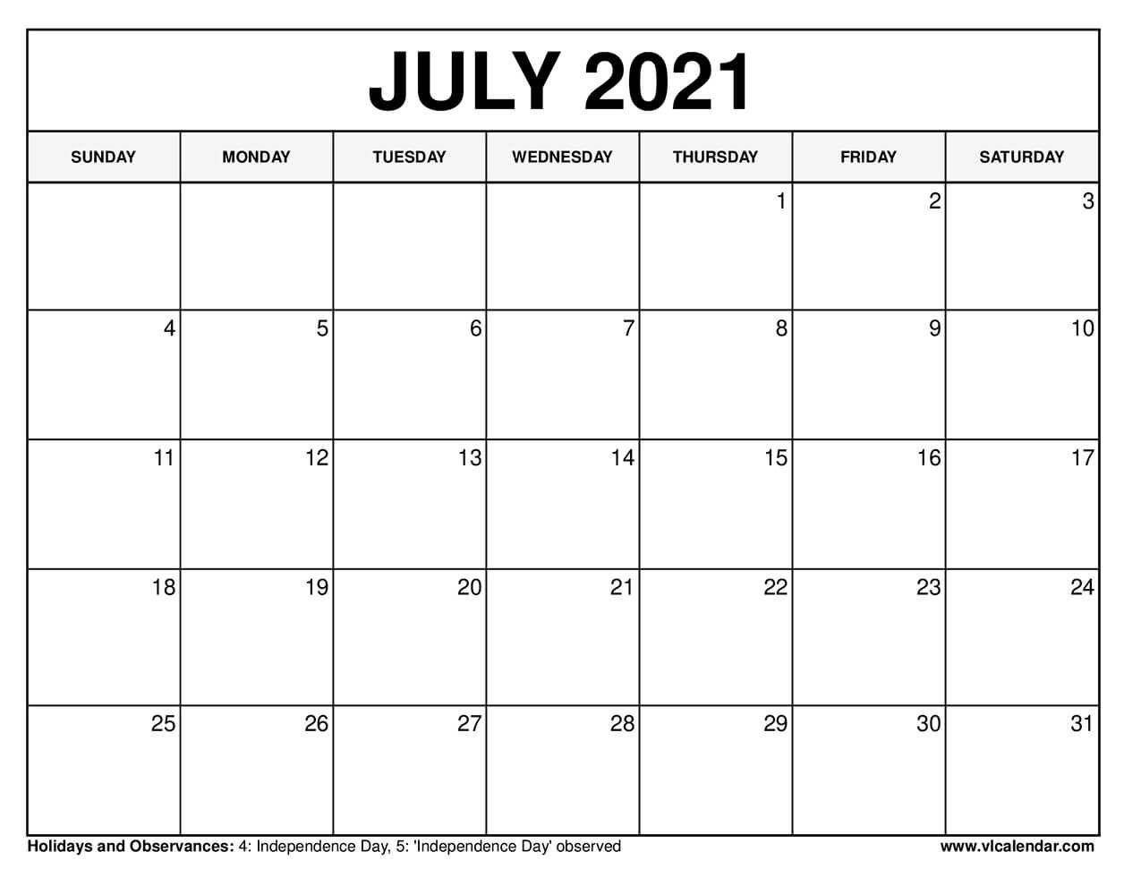 Printable July 2021 Calendar Templates With Holidays