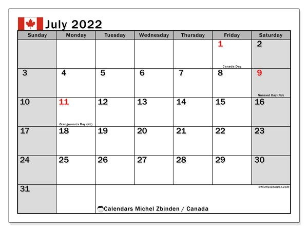"Printable July 2022 ""Canada"" Calendar - Michel Zbinden En"